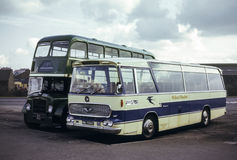 Vintage image of Scottish Buses. Scotland, UK - 1973: Vintage image of buses operating in 1973. Alexander Midland Bluebird MW278registration HWG 534E and Royalty Free Stock Photography