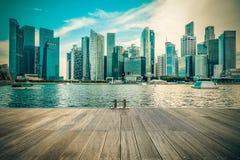 Vintage image of Singapore city skyline of business district Stock Photos