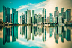 Vintage image of Singapore city skyline of business district Royalty Free Stock Image
