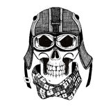 Vintage Image of SKULL for t-shirt design for motorcycle, bike, motorbike, scooter club, aero club. Hand drawn picture Stock Images
