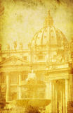 Vintage image of St. Peter's Basilica. Rome, Italy Stock Photos