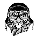 Vintage Image TIGER for t-shirt design for motorcycle, bike, motorbike, scooter club, aero club. Hand drawn picture Royalty Free Stock Photo