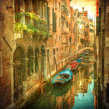 Vintage image of Venetian canals. Vintage image of beautiful Venetian canals stock photo