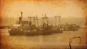 Vintage image of wreck old ship wreck Stock Image