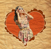 Vintage image with young woman Royalty Free Stock Photo