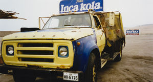 Vintage Inca kola delivery truck peru Stock Photography