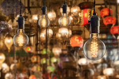 Vintage incandescent bulbs on light equipment market in Istanbul Stock Photography