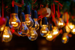 Vintage incandescent lamps as decorative element Royalty Free Stock Image