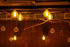 Vintage incandescent lamps as decorative element Royalty Free Stock Photos