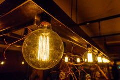 Vintage incandescent lamps as decorative element Royalty Free Stock Photography