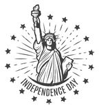 Vintage Independence Day Round Label Template Royalty Free Stock Photos