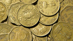 Vintage Indian Coins. Vintage Brass Coins of India Royalty Free Stock Image