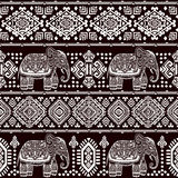 Vintage Indian elephant seamless pattern with tribal ornaments. Stock Image