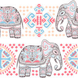 Vintage Indian elephant seamless pattern with tribal ornaments. Royalty Free Stock Image