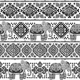 Vintage Indian elephant seamless pattern with tribal ornaments. Royalty Free Stock Photography