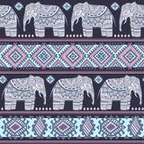 Vintage Indian elephant seamless pattern with tribal ornaments. Stock Images