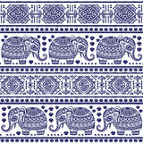 Vintage Indian elephant seamless pattern with tribal ornaments. Vintage vector Indian elephant seamless pattern with tribal ornaments Stock Photos