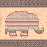 Vintage Indian elephant with tribal ornaments Royalty Free Stock Images
