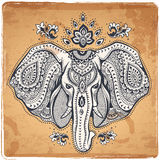 Vintage Indian elephant with tribal ornaments Stock Images