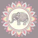 Vintage Indian elephant with tribal ornaments Royalty Free Stock Photos