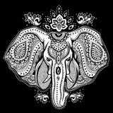 Vintage Indian elephant with tribal ornaments illustration Stock Image