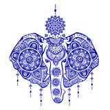Vintage Indian elephant with tribal ornaments illustration Royalty Free Stock Images