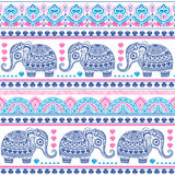 Vintage Indian elephant with tribal ornaments. Mandala greeting Royalty Free Stock Images