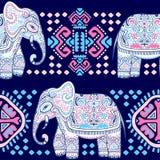 Vintage Indian elephant with tribal ornaments. Mandala greeting Royalty Free Stock Photo
