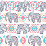 Vintage Indian elephant with tribal ornaments. Mandala greeting Royalty Free Stock Photography