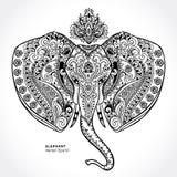 Vintage Indian elephant with tribal ornaments. Mandala greeting Royalty Free Stock Image