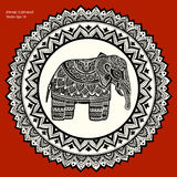 Vintage Indian elephant with tribal ornaments. Mandala greeting. Vintage Indian elephant with tribal ornaments. Floral mandala greeting card Royalty Free Stock Photos
