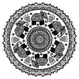 Vintage Indian elephant with tribal ornaments. Mandala greeting. Vintage Indian elephant with tribal ornaments. Floral mandala greeting card Stock Photography
