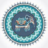 Vintage Indian elephant with tribal ornaments. Mandala greeting Stock Images