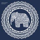 Vintage Indian elephant with tribal ornaments. Mandala greeting Stock Photo