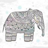 Vintage Indian elephant with tribal ornaments. Mandala greeting Stock Photography