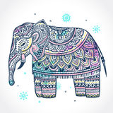 Vintage Indian elephant with tribal ornaments. Mandala greeting Stock Photos