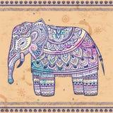Vintage Indian elephant with tribal ornaments. Mandala greeting Stock Image