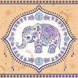 Vintage Indian elephant with tribal ornaments. Mandala greeting Stock Images