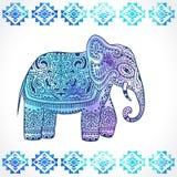 Vintage Indian elephant with tribal ornaments. Mandala greeting Royalty Free Stock Photography