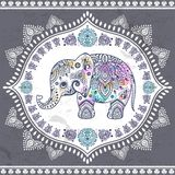 Vintage Indian elephant with tribal ornaments. Mandala greeting. Vintage Indian elephant with tribal ornaments. Floral mandala greeting card Stock Images
