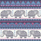 Vintage Indian elephant with tribal ornaments. Mandala greeting Royalty Free Stock Photo