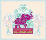Vintage Indian ornament with an elephant Royalty Free Stock Image