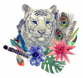 Vintage indian style tiger head pattern with feathers, flowers and leaves. Watercolor hand drawn illustration. Vintage indian style tiger head pattern. Hand Stock Photography