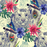 Vintage indian style tiger head pattern with Stock Photos