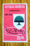 Vintage Indonesia postage stamp. A vintage unused Indonesia 1965 mint of State Principles postal stamps Stock Images