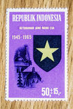 Vintage Indonesia postage stamp. A vintage unused Indonesia 1965 mint of State Principles postal stamps Royalty Free Stock Photo