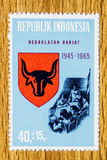 Vintage Indonesia postage stamp. A vintage unused Indonesia 1965 mint of State Principles postal stamps Stock Photos