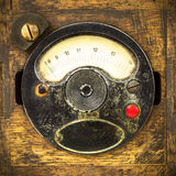 Vintage industrial meter in a wooden box Royalty Free Stock Image