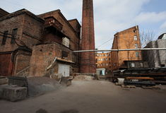 Vintage industrial red brick building in the industrial area of the old European city. Stock Photo