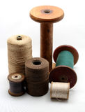 Vintage industrial yarn and cotton spools and reels Royalty Free Stock Photos